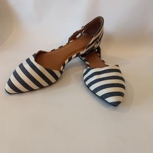 Merona blue and cream stripe flats
